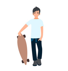 Male asian college student standing with longboard vector