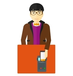 Man paying using smartphone vector image