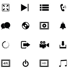 media player icon set vector image