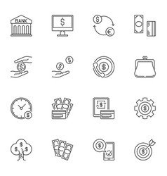 money concept icons or signs in thin line vector image