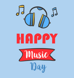 Music day celebration greeting card vector