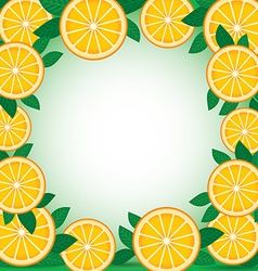 Orange with green leaves Background Frame vector image