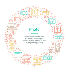 Photo camera thin line banner card circle vector