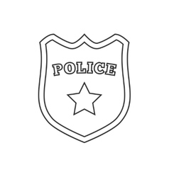 Police badge line icon vector
