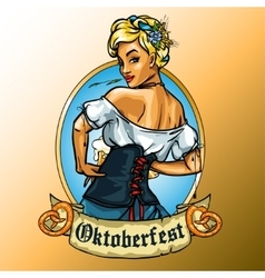 Pretty bavarian girl label vector