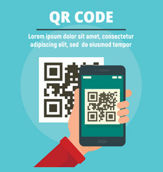 Qr code scan concept banner flat style vector