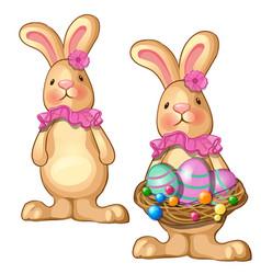 rabbit holding basket of easter eggs vector image
