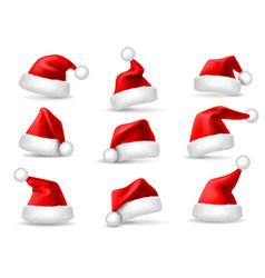 realistic santa hats santa claus christmas vector image