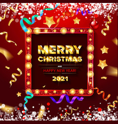 red greeting card with christmas vector image
