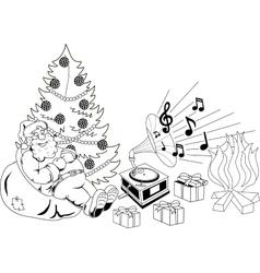 Santa Claus listening to music vector
