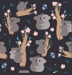 seamless pattern with cute koalas graphics vector image