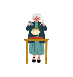 senior woman cooking on kitchen olld lady daily vector image
