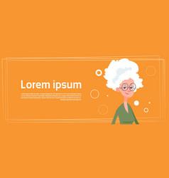 Senior woman modern fashionable grandmother lady vector