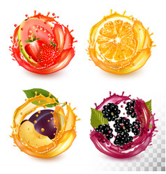 Set fruit juice splash strawberry guava vector