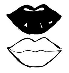 set hand drawn lips contour vector image
