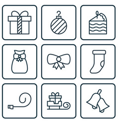 Set of 9 holiday icons includes fireplace vector