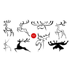 Set of black images of moose and deer abstract vector