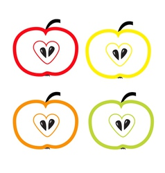 Set of color apples with heart shape Isolated vector
