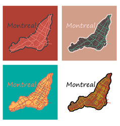 Set of flat map of montreal is a city of canada vector