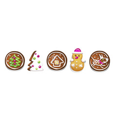 set of various gingerbread figures cute hand vector image