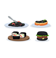 Set with snacks with components of black color vector