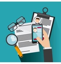 Smartphone glasses lupe businessman cv document vector