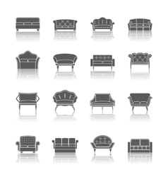 Sofa icon black vector image