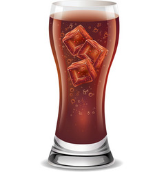 soft drink in glass with ice cubes vector image