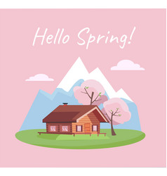 spring blooming landscape with mountains and wood vector image