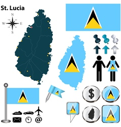 St Lucia map vector image