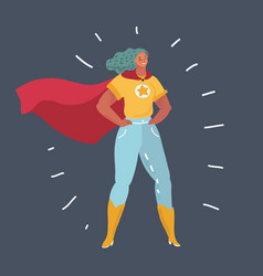 Superhero woman standing on dark background vector
