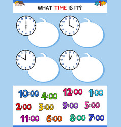 Telling time clock face cartoon task vector