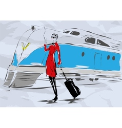The woman in a red coat with a cigarette vector