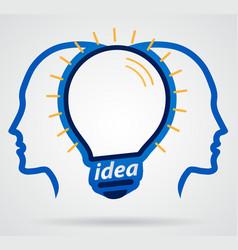 thinking head lamp illuminating brain unity of vector image