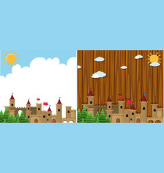 Two background with castle towers vector