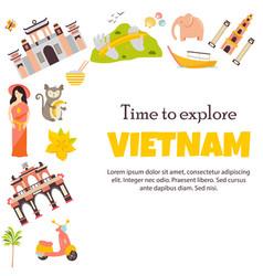 Vietnam landmarks set architecture famous place vector