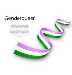Waving ribbon or banner with genderqueer pride vector