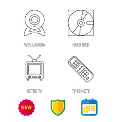 Web camera retro tv and hard disk icons vector
