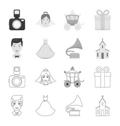 wedding dress groom gramophone church wedding vector image