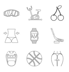 Well again icons set outline style vector