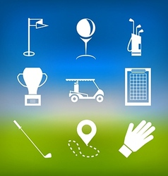 White icons for golf vector image