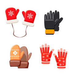 winter gloves icon set cartoon style vector image