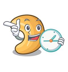 With clock cashew nut salty roasted on cartoon vector