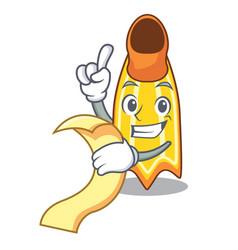 With menu swim fin mascot cartoon vector