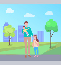 Woman walking with daughter carrying bain park vector
