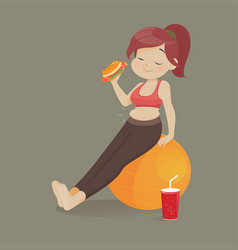 young woman eating a piece fast food women vector image