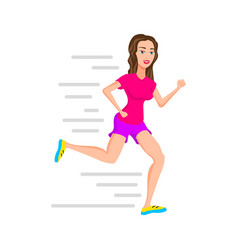 young woman runner running or jogging girl vector image