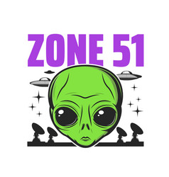 Zone 51 icon alien activity and ufo conspiracy vector