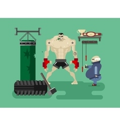 Boxer character in training vector image vector image