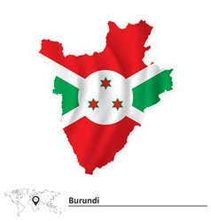Map of Burundi with flag vector image vector image